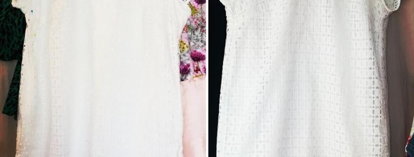 Modification col d'une petite robe blanche , à l' Atelier au fil d'ÉLO , à 10 min de la Tranche sur Mer