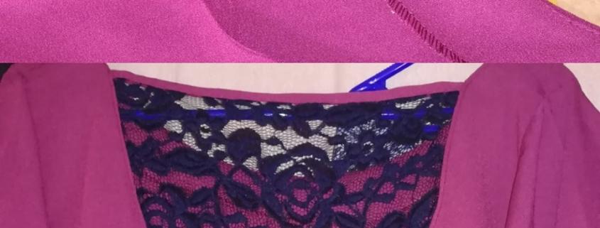 Retouche sur une robe violette pour le décolleté de dentelle bleue trop échancré, atelier de couture saint benoist sur mer